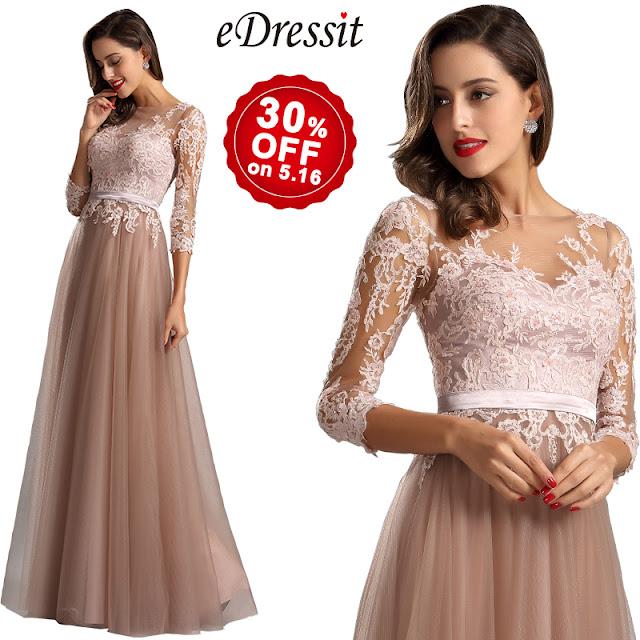long sleeves illusion neck long formal dress