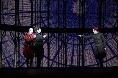 Gounod: Faust - Andreass Bauer (Mephistopheles), Benjamin Bernheim (Faust), Valdis Jansons (Valentin) (Photo: Agnese Zeltina (c) Latvian National Opera and Ballet)