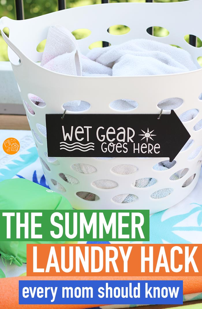 Handle summer laundry like a pro with this super simple organizing hack! Includes a free printable Cricut file to make your own sign. This is a genius idea for dealing with wet towels, bathing suits, and other wet gear during summer break. You might need more than one! #laundry #organizedhome #summerbreak #momhacks