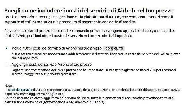 percentuale Airbnb per host