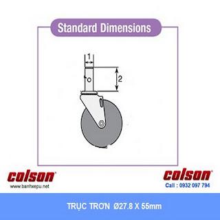 kích thước Bánh xe cao su trục tròn Colson có khóa phi 5 inch | 2-5651-448BRK4 www.banhxeday.xyz
