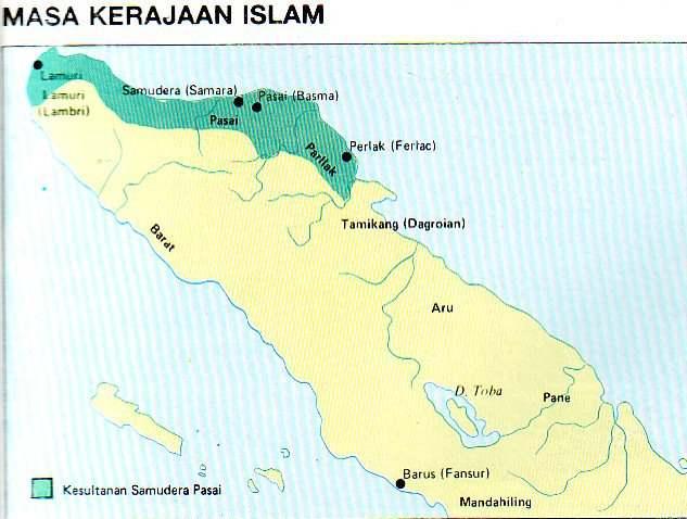 Peta Kerajaan Islam di Pulau Sumatera