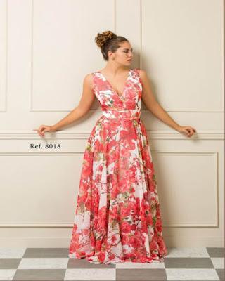 vestido rojo con flores largo elegante
