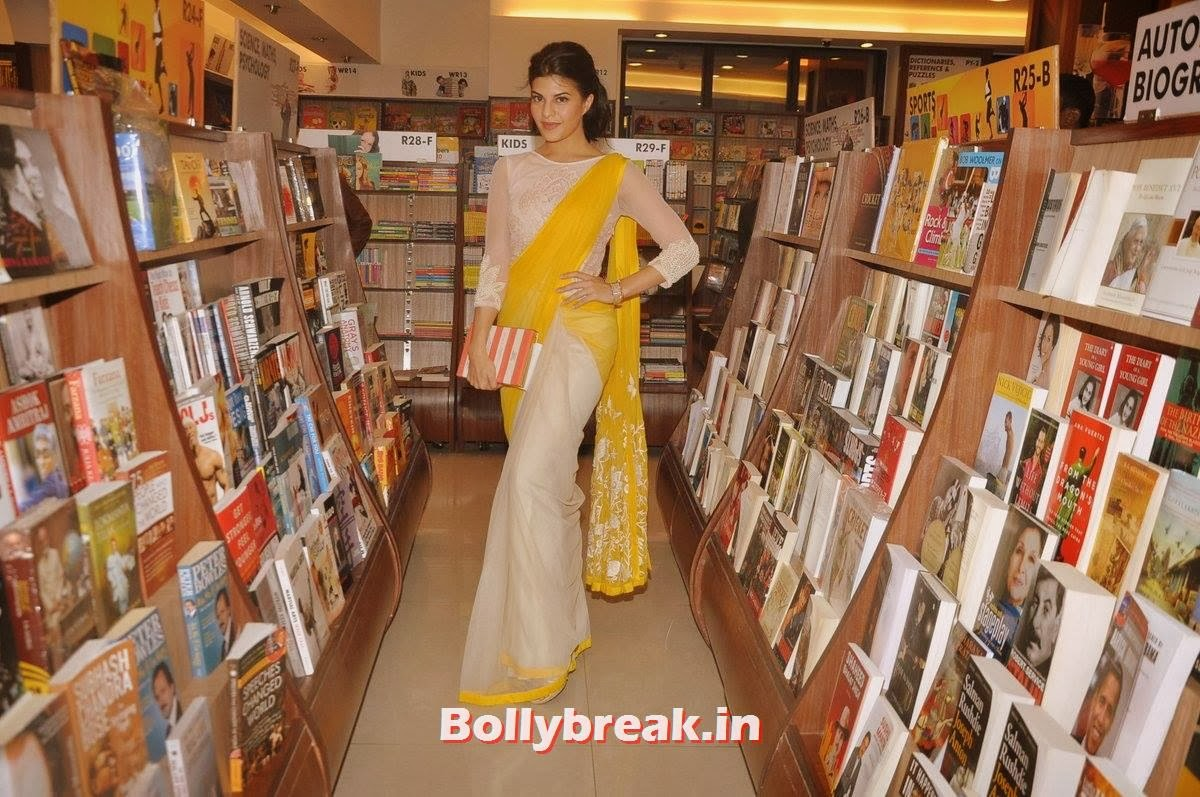 , Jacqueline Fernandez in Yellow Saree at the launch of the book The Love Diet