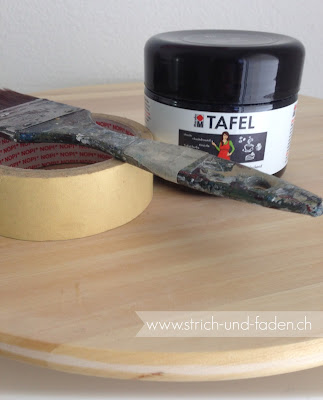 mit Strich und Faden: Drehteller selber bemalen mit Tafelfarbe