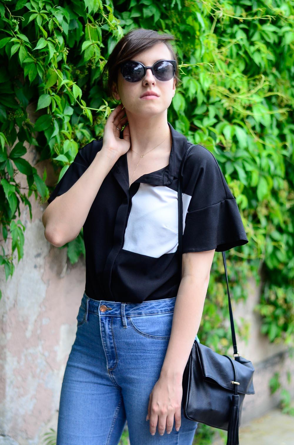 koszula krótki rękaw color blocking jeansy minimalizm stylizacja blog