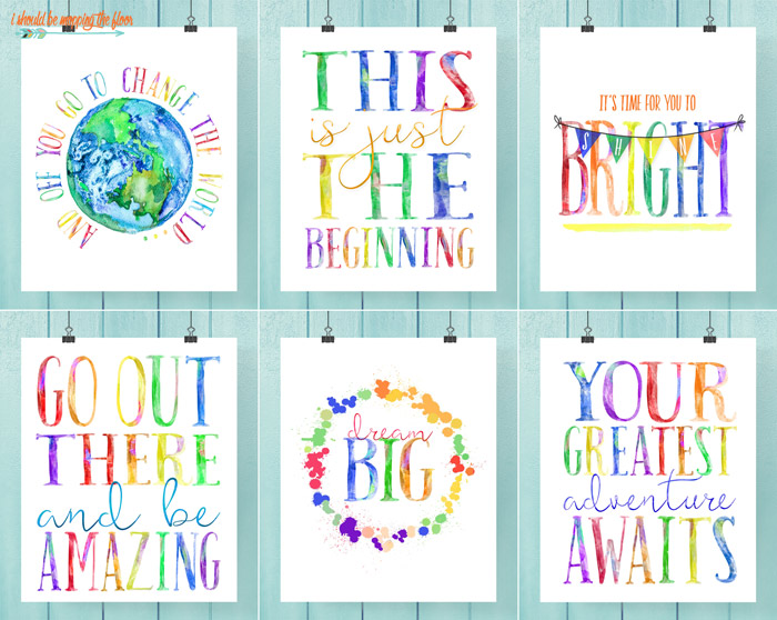 Six Watercolor Graduation Printables