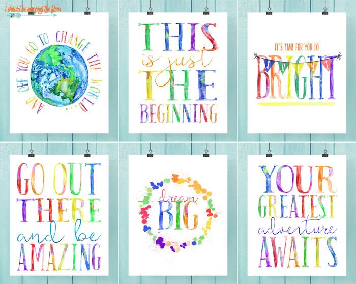 Six Watercolor Graduation Printables