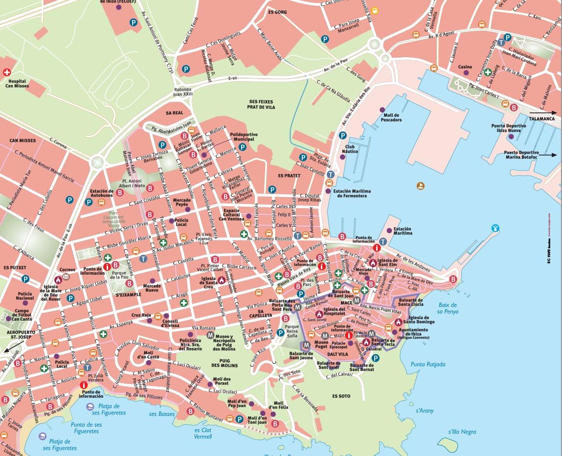 Mapa de Eivissa ciudad