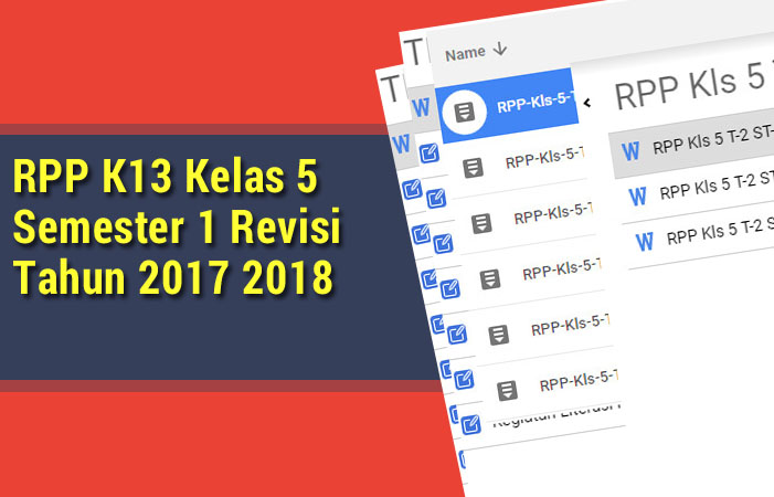 RPP K13 Kelas 5 Semester 1