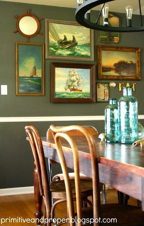 nautical vintage gallery wall art idea for a dining room