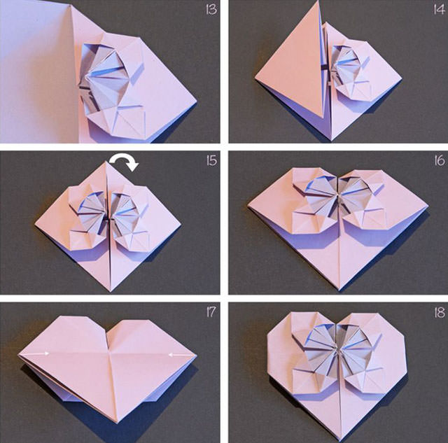 10種心形摺紙步驟圖解 + 愛心形摺紙書籤製作方法