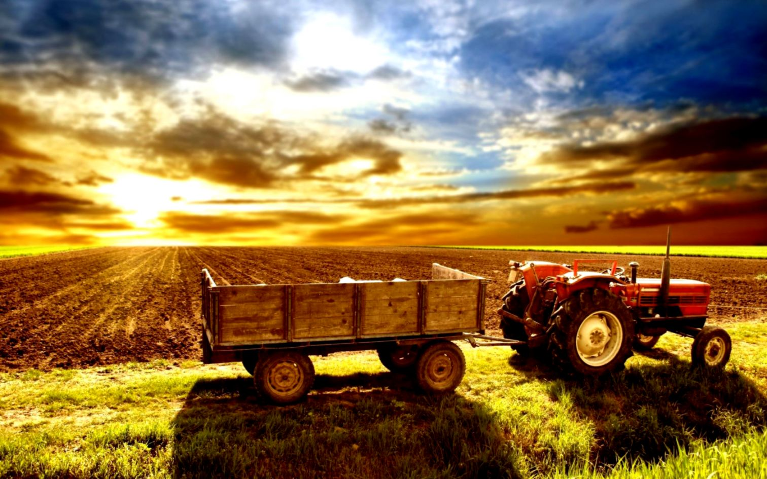 High Definition Wallpaper Of A Tractor In A Farm PaperPull