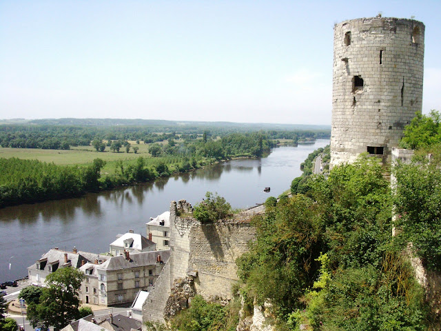 looking down on the river Vienne from one of the towers of the chateau at Chinon