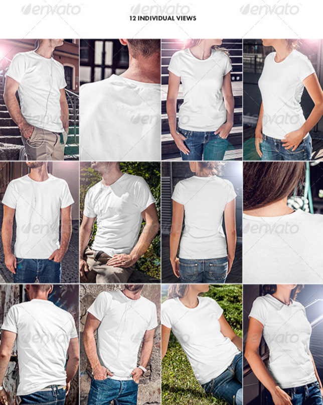 16. Men and Women Realistic T-Shirt Mockup