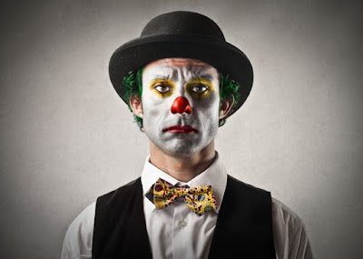photo of a very serious clown