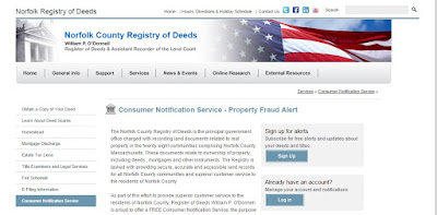 screen grab of Norfolk Deeds consumer alert page