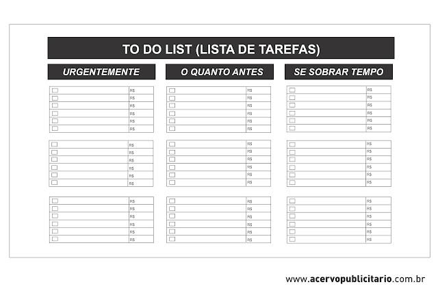 Modelo de To Do List (Lista de Tarefas)