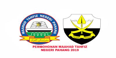 Permohonan Maahad Tahfiz Negeri Pahang 2019 Online