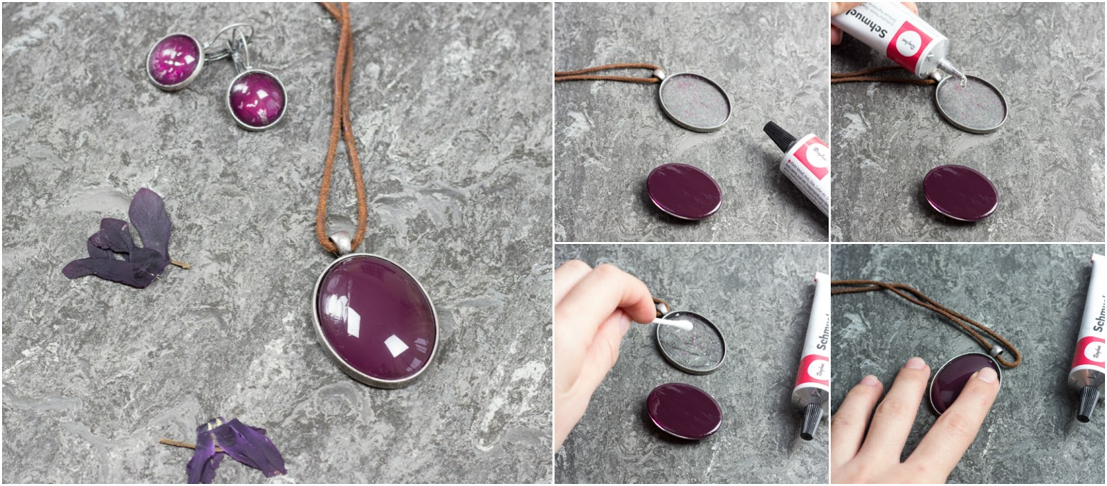 Der magische Anhänger im Stil der Schattendiebin - DIY Cabohon Anhänger und Ohrringe mit Nagellack selber basteln