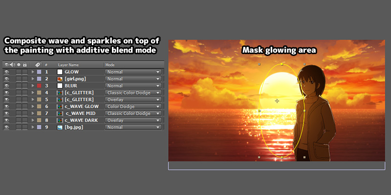 anime sunset seaside tutorial