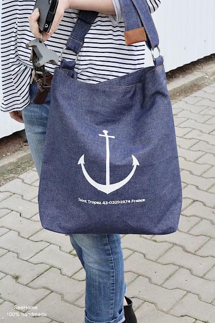 Styl marynistyczny,Kotwica,Torba z napisami,Jeans,Torba jeansowa,Bag,Bags