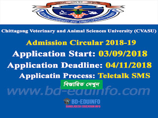 Chittagong Veterinary and Animal Sciences University (CVASU) Admission Circular 2018-19