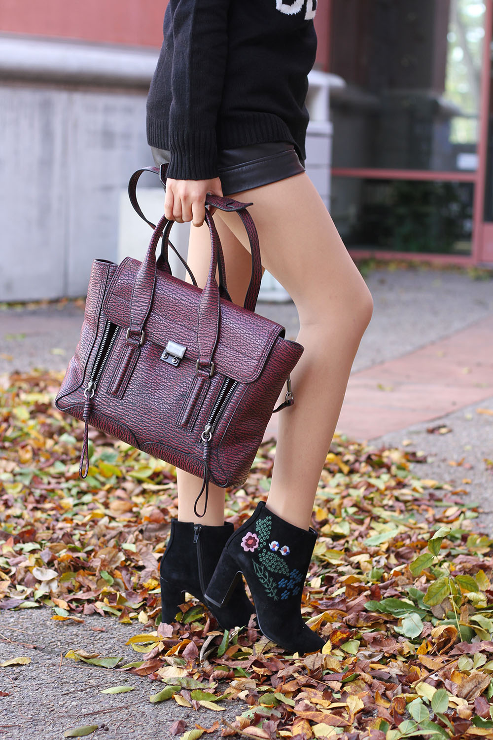 Embroidered Floral Suede Black Booties Nanette Lepore_Adrienne Nguyen_Invictus_Winter Style