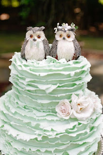 luxurious owls wedding cake topper