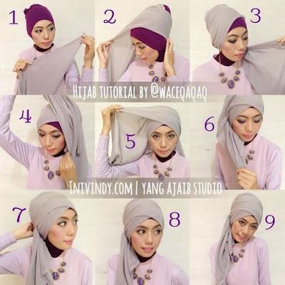 Tutorial Hijab Turban Segi Empat Modern Gaya #14 Stylish Cool
