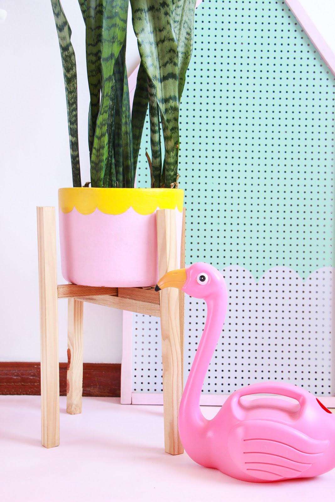 suporte para vaso de plantas de madeira DIY faca voce mesmo