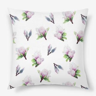 Podushka s printom magnoliya na belom | Inna Yakuskeva's blog