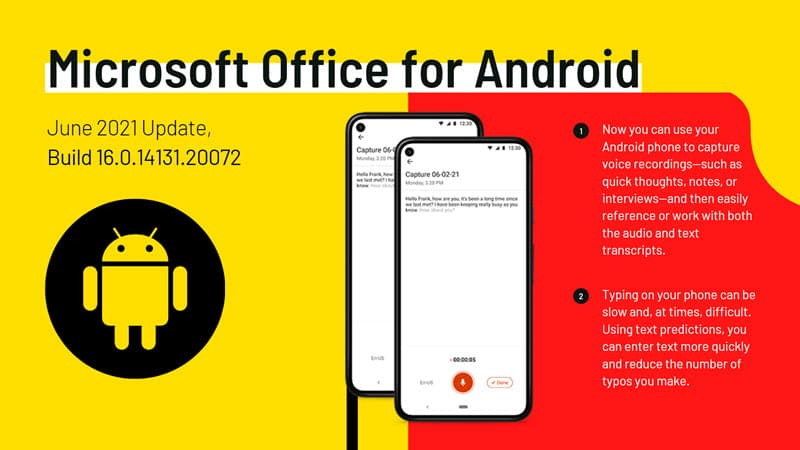 Microsoft Office for Android June 2021 Update brings two new features