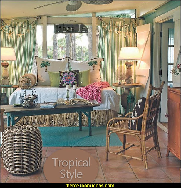 Tropical beach style bedroom decorating ideas - beach bedrooms - surfer theme rooms