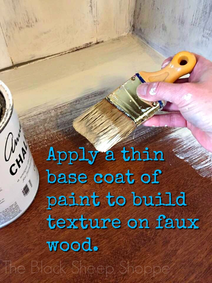 Apply a thin coat of paint to create texture on faux wood.