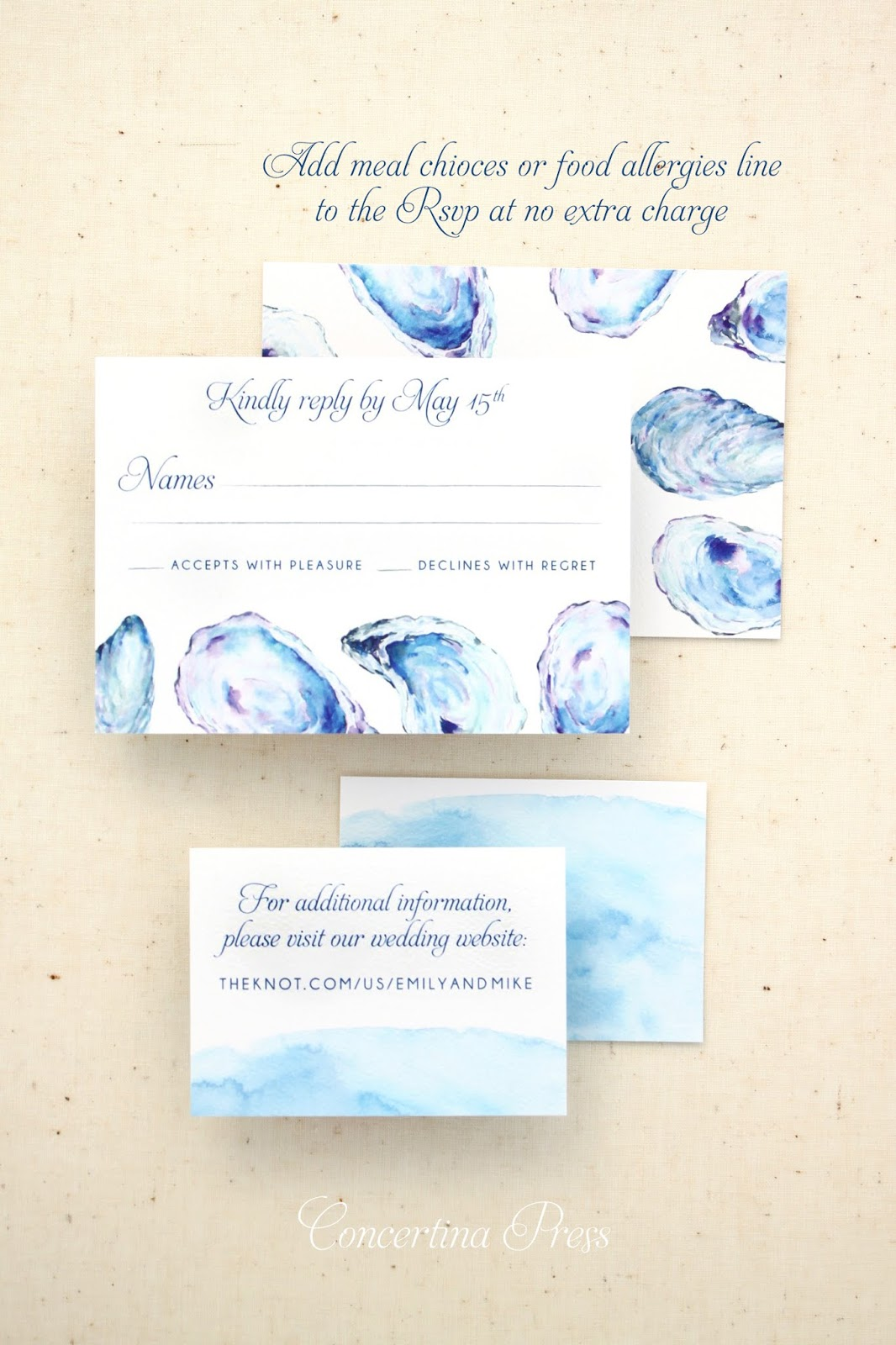 Oyster Beach Wedding Invitation RSVP and Website Card from Concertina Press