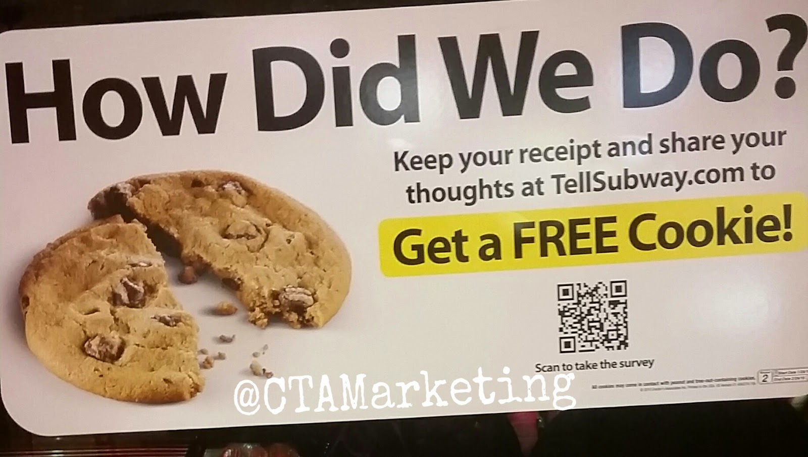 subway restaurants qr code gets you a free cookie mobile marketing