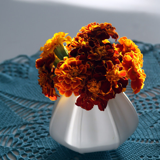 marigolds, autumn colors, flowers, crochet doily, flower arrangement, simple bouquet, Anne Butera, My Giant Strawberry