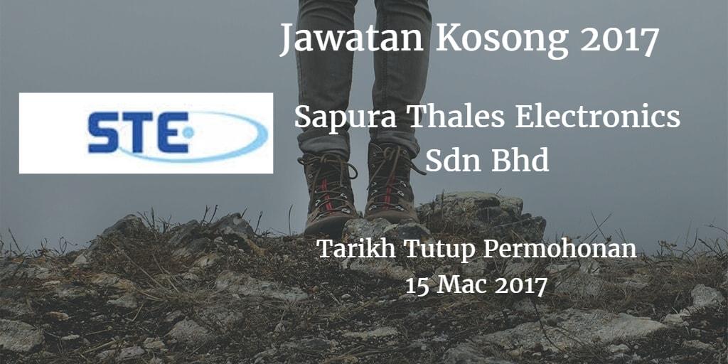 Jawatan Kosong Sapura Thales Electronics Sdn Bhd 15 Mac 2017