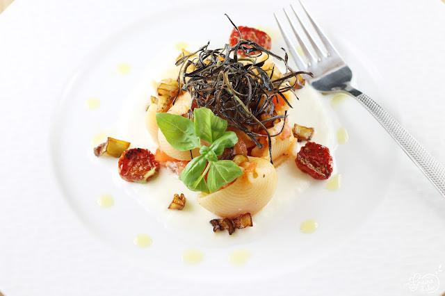 Conchiglies Aubergines Tomates Mozzarella di Buffala