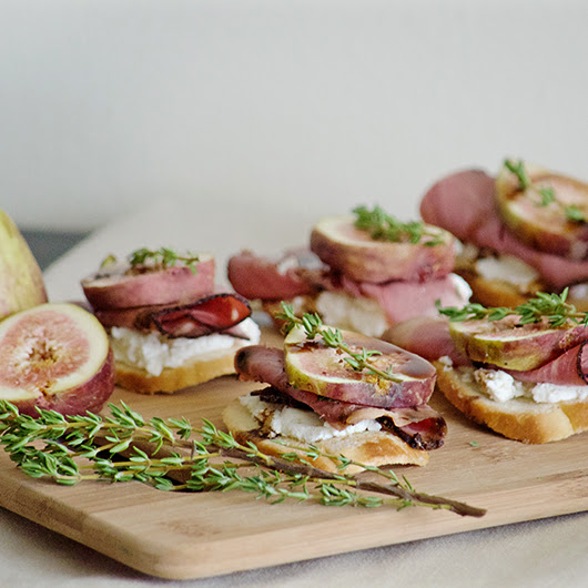 Fig, Pastrami, Goat Cheese Crostini