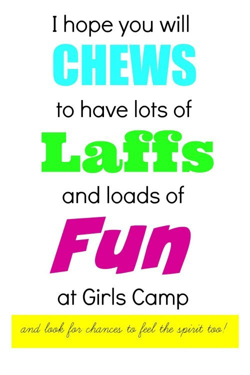 Free Printable for Girls Camp Treats