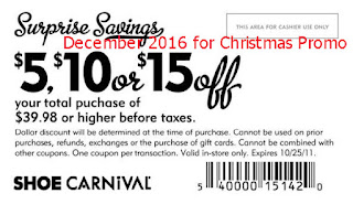 Shoe Carnival coupons december 2016