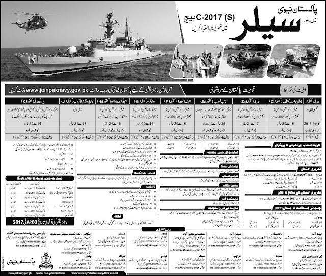 Latest Pakistan Navy Jobs 2017 Sailor Jobs