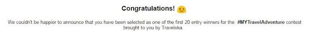 Terpilih Sebagai Pemenang 20 Entry Pertama Untuk Kontes #MYTravelAdventure