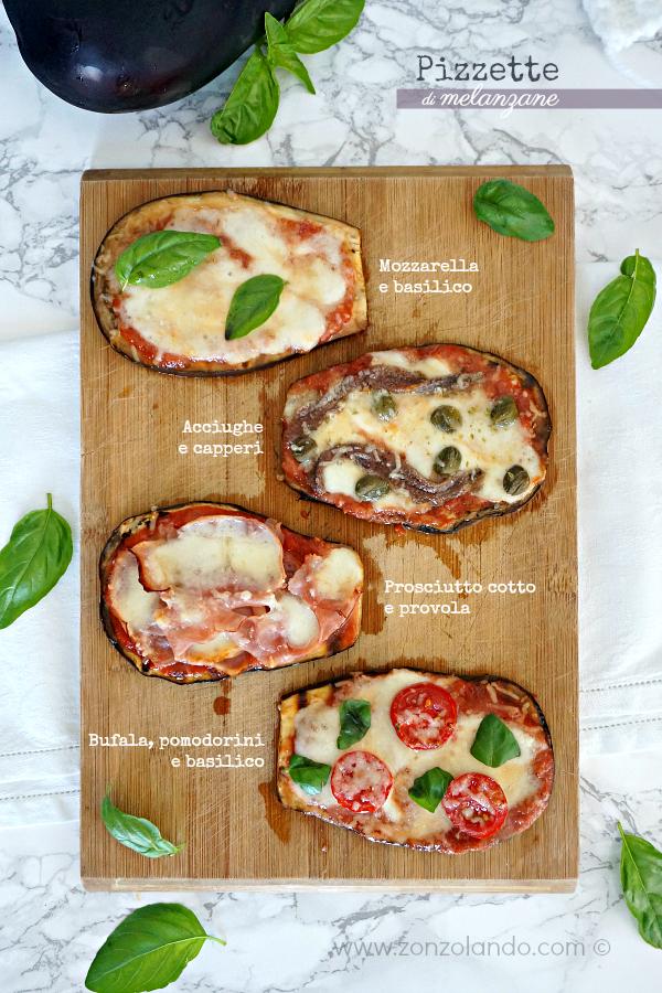 Ricetta di pizzette di melanzane senza glutine, veloce e light in 4 versioni fantasia saporite e gustose - Aubergine pizza 4 ways easy and tasty recipe
