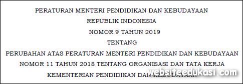 Permendikbud Nomor 9 Tahun 2019