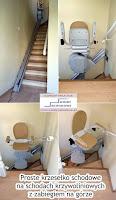 Proste, używane krzesełko schodowe na schodach zabiegowych