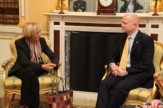 Emma Bonino meets British Foreign Secretary William  Hague in 2013 during her time as Minister of Foreign Affairs