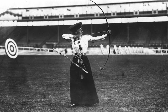 Sybil Queenie Newall of the United Kingdom, gold medalist in women's archery. 1908. The oldest woman to will Olympic Gold. Your Russians are missing and other stories about past Olympics. marchmatron.com